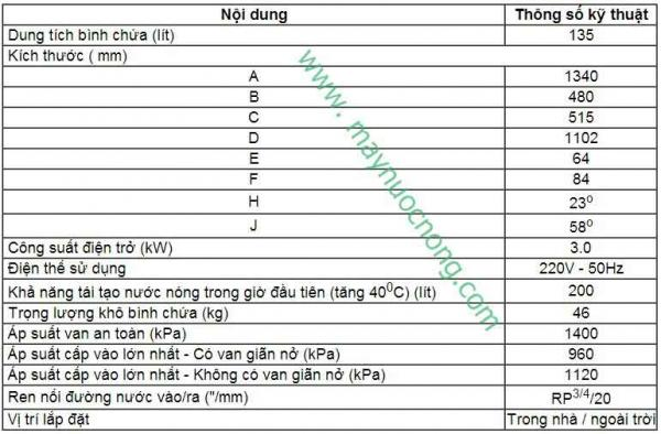 Binh nuoc nong Vulcan 135 lit-thong-so-ky-thuat